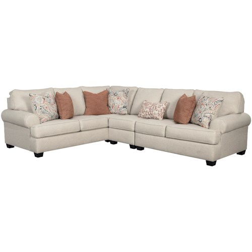 Signature Design by Ashley Amici 3-Piece Sectional with Rolled Arms