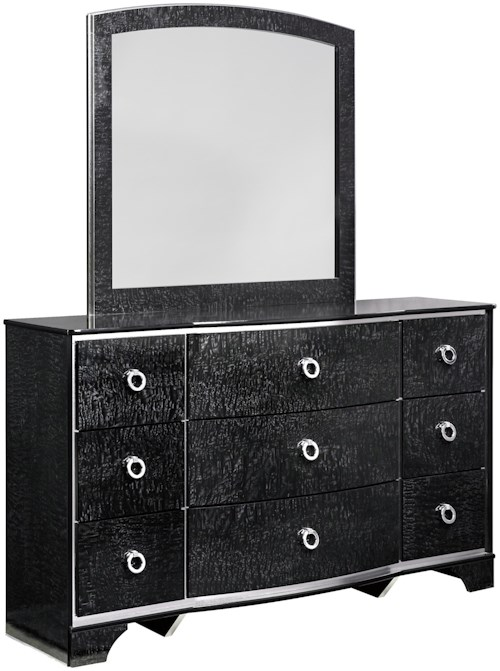 Signature Design by Ashley Amrothi Dresser with Silver Finish Trim & Bedroom Mirror