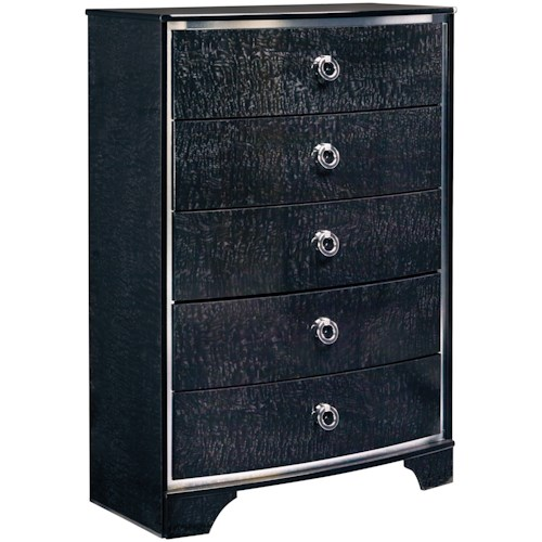 Signature Design by Ashley Amrothi Five Drawer Chest with Silver Finish Trim