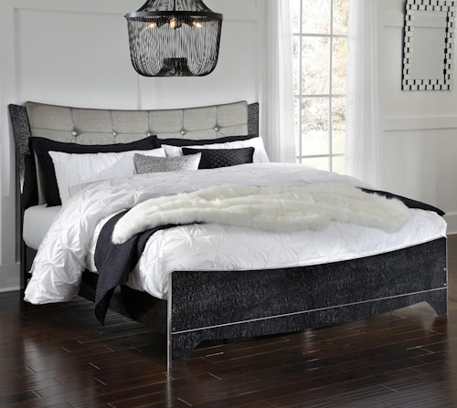 Signature Design by Ashley Amrothi King Upholstered Panel Bed with Silver Finish Faux Leather