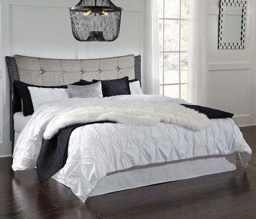 Signature Design by Ashley Amrothi King/Cal King Upholstered Panel Headboard with Silver Finish Faux Leather