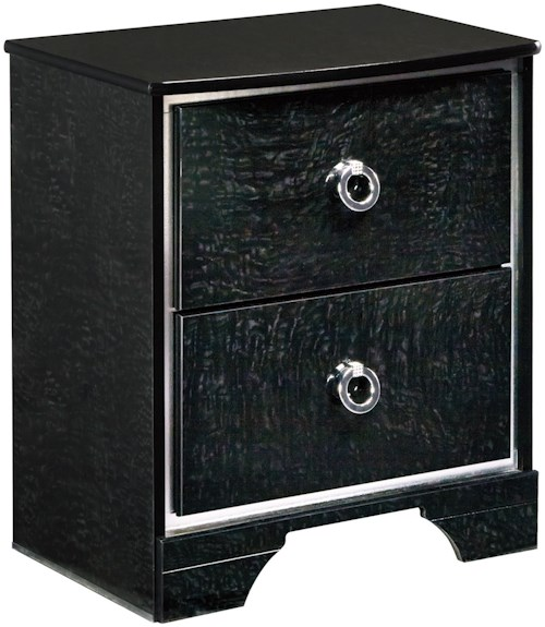 Signature Design by Ashley Amrothi Two Drawer Night Stand with 2 USB Chargers & Silver Finish Trim