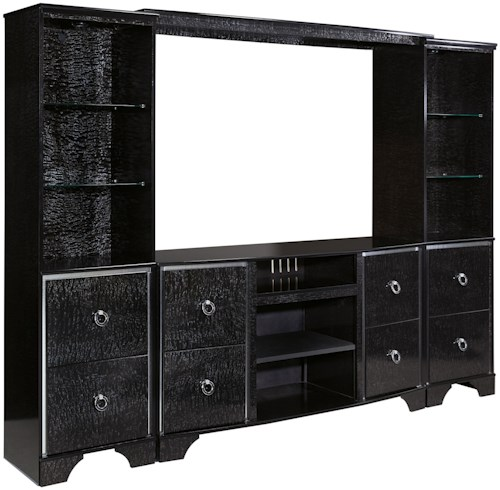 Signature Design by Ashley Amrothi Glam Large TV Stand, Bridge, and Piers