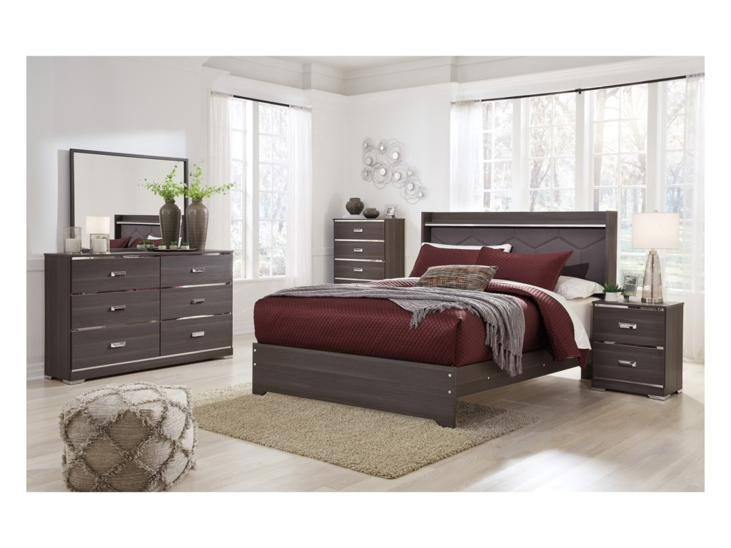 Ashley (Signature Design) AnnikusQueen Upholstered Panel Bed