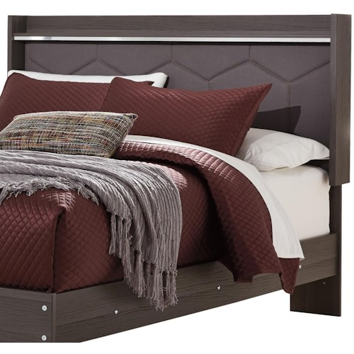 Signature Design by Ashley Annikus Queen Upholstered Panel Headboard with Shelf and Light