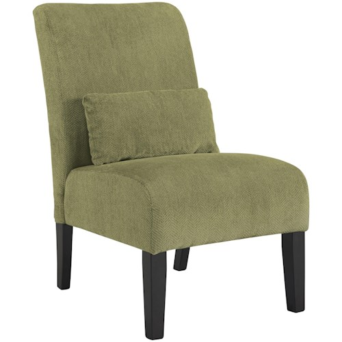 Signature Design by Ashley Annora - Green Contemporary Armless Accent Chair with Pillow