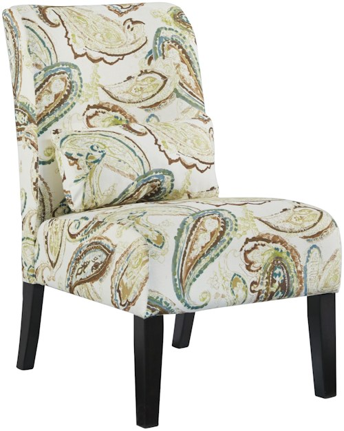 Signature Design by Ashley Annora - Paisley Transitional Armless Accent Chair with Pillow
