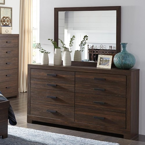 Signature Design by Ashley Arkaline Modern Rustic Dresser & Bedroom Mirror