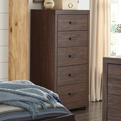 Signature Design by Ashley Arkaline Modern Rustic Five Drawer Chest