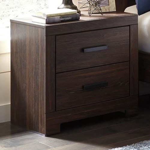 Signature Design by Ashley Arkaline Modern Rustic Two Drawer Night Stand with USB Chargers