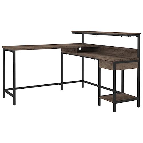 Signature Design by Ashley Arlenbry L-Desk with Storage and Black Metal Frame