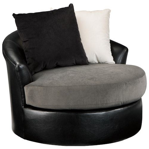 Signature Design by Ashley Armant Swivel Accent Chair with 2 Pillows and Faux Leather/Fabric Upholstery