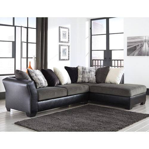 Signature design by ashley armant contemporary 2 piece for Ashley furniture leather sectional with chaise