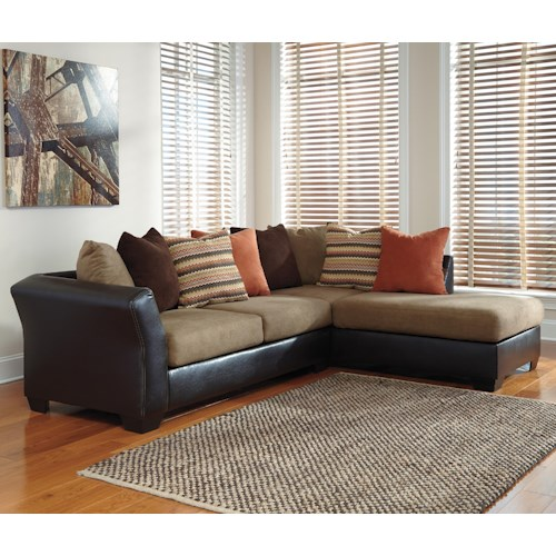 Signature Design by Ashley Armant Contemporary 2-Piece Sectional with Right Chaise with Loose Back Pillows
