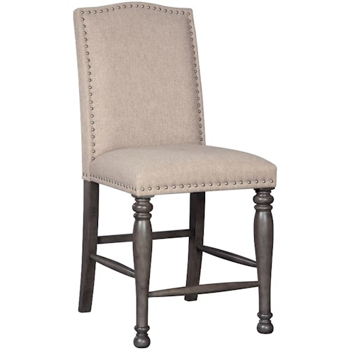Signature Design by Ashley Audberry Transitional Upholstered Counter Height Barstool with Nailhead Trim