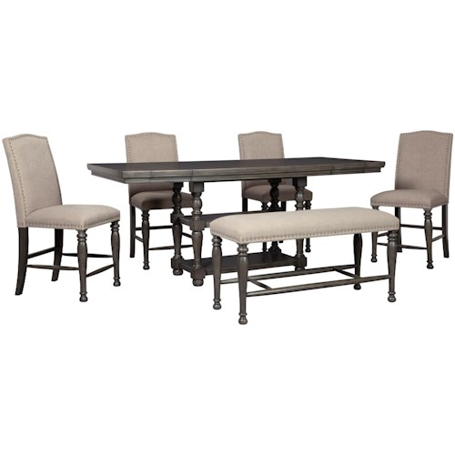 Signature Design by Ashley Audberry Transitional Table and Chair Set with Bench