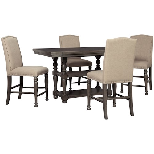 Signature Design by Ashley Audberry Transitional Five Piece Chair and Table Set
