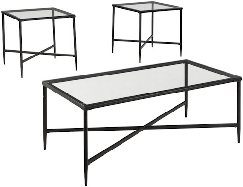 Signature Design by Ashley Augeron 3-Piece Metal & Glass Occasional Table Set