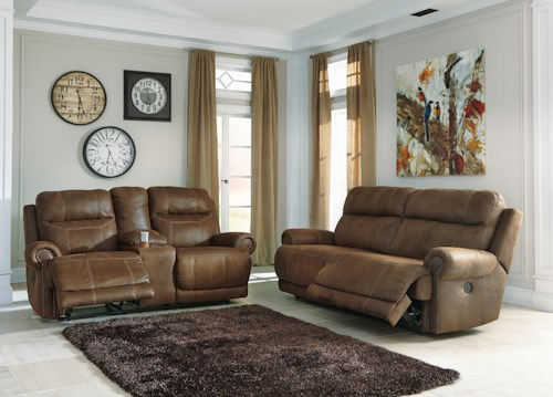 Signature Design by Ashley Austere - Brown Power Reclining Living Room Group