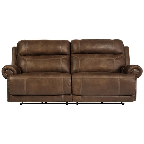 Signature Design by Ashley Austere - Brown 2 Seat Reclining Power Sofa with Rolled Arms with Nailhead Trim