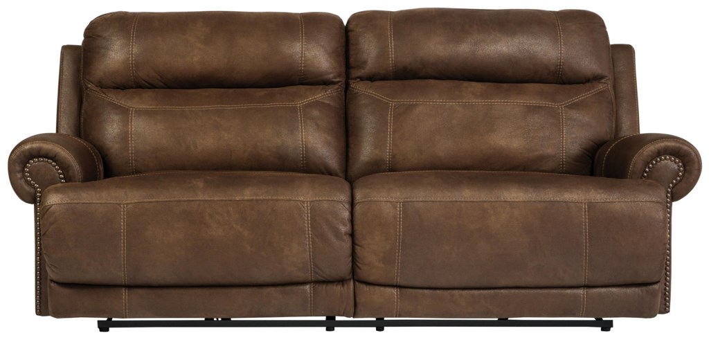 Romilly Brown 2 Seat Reclining Sofa With Rolled Arms And Nailhead