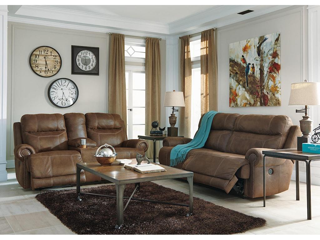 Ashley (Signature Design) Austere - Brown2 Seat Reclining Sofa