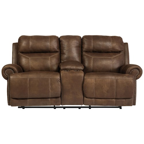 Signature Design by Ashley Austere - Brown Double Reclining Loveseat w/ Console & Power