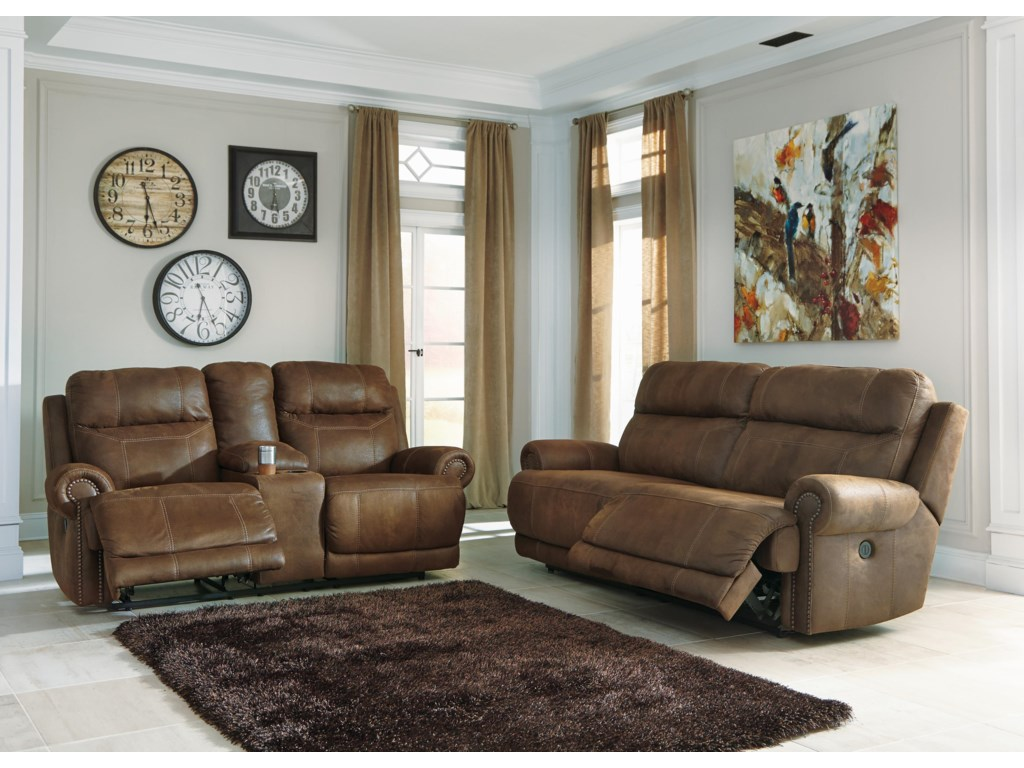 Ashley (Signature Design) Austere - BrownDouble Reclining Loveseat w/ Console & Power