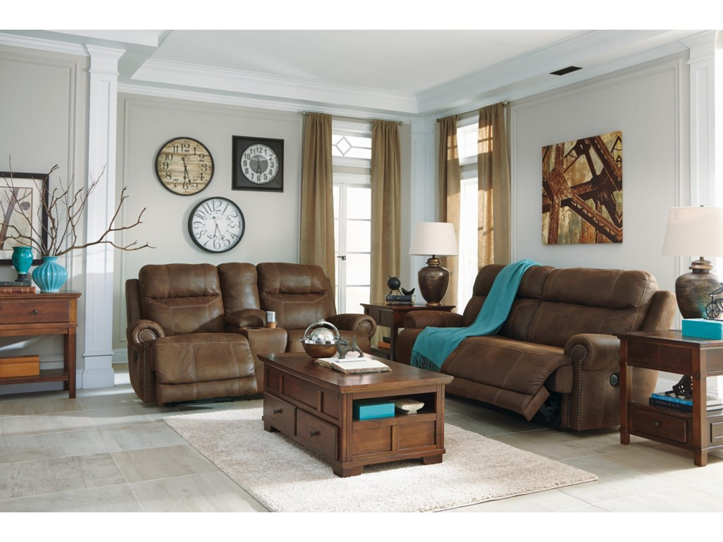 Signature Design by Ashley Austere - BrownDouble Reclining Loveseat w/ Console & Power