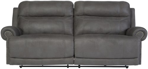 Signature Design by Ashley Austere - Gray 2 Seat Reclining Power Sofa with Rolled Arms with Nailhead Trim