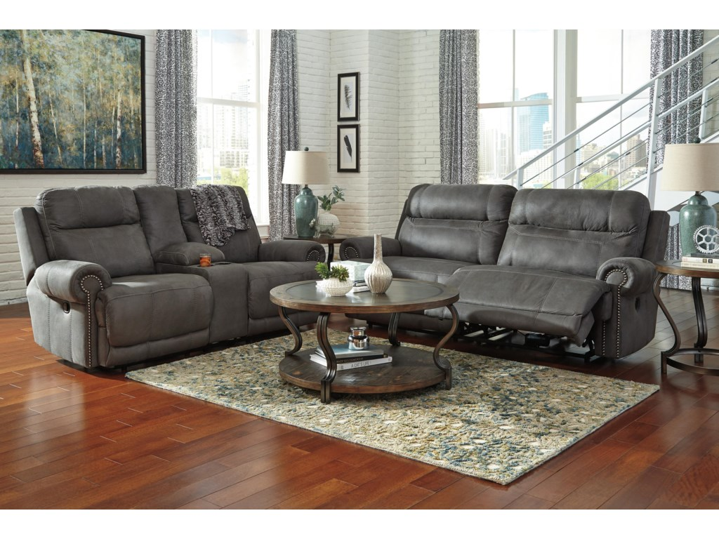 Signature Design by Ashley Austere - Gray2 Seat Reclining Power Sofa