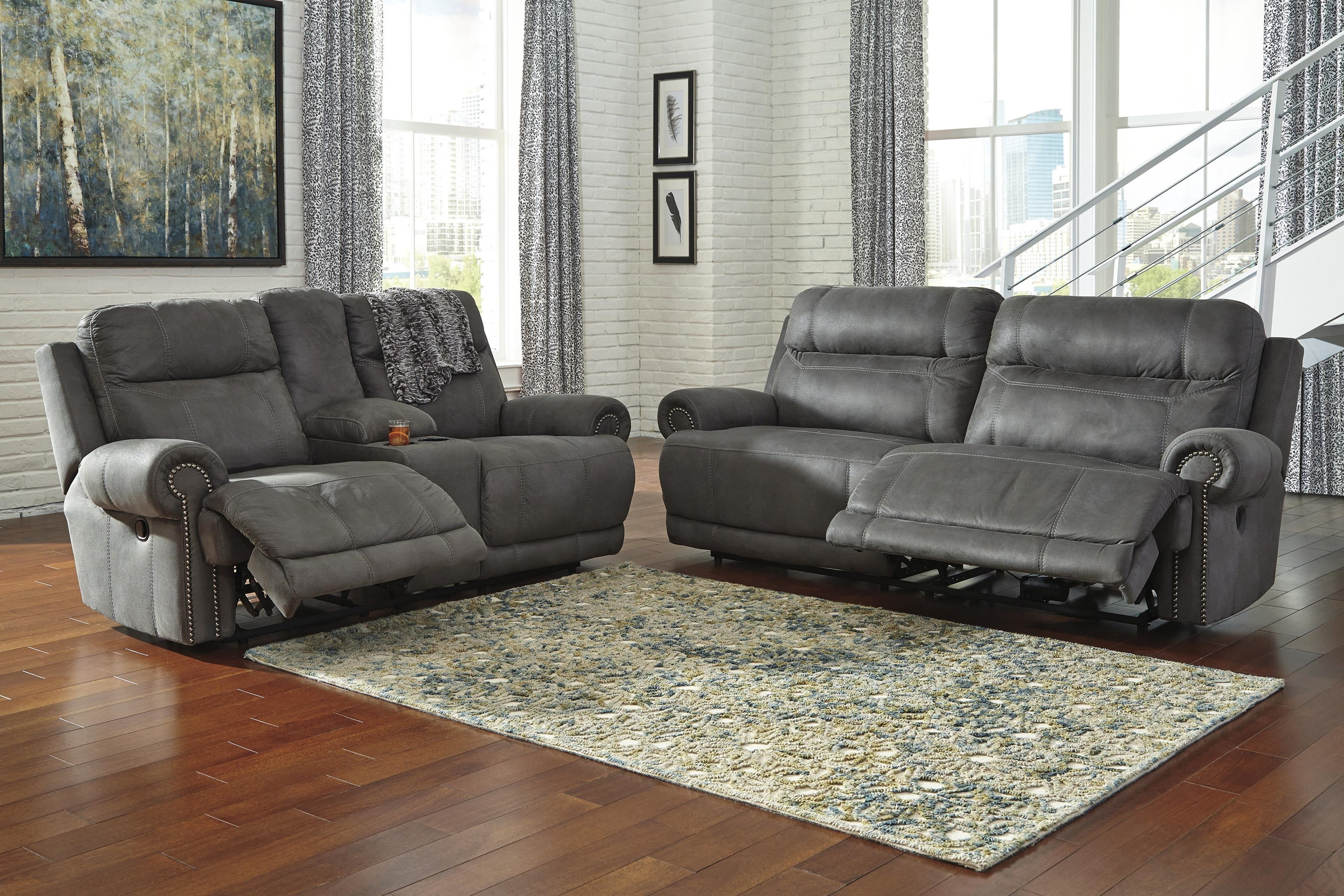 Picture of: Signature Design By Ashley Austere Gray 3840147 96 82 Power Recliner Sofa Loveseat And Recliner Set Sam Levitz Furniture Reclining Living Room Groups