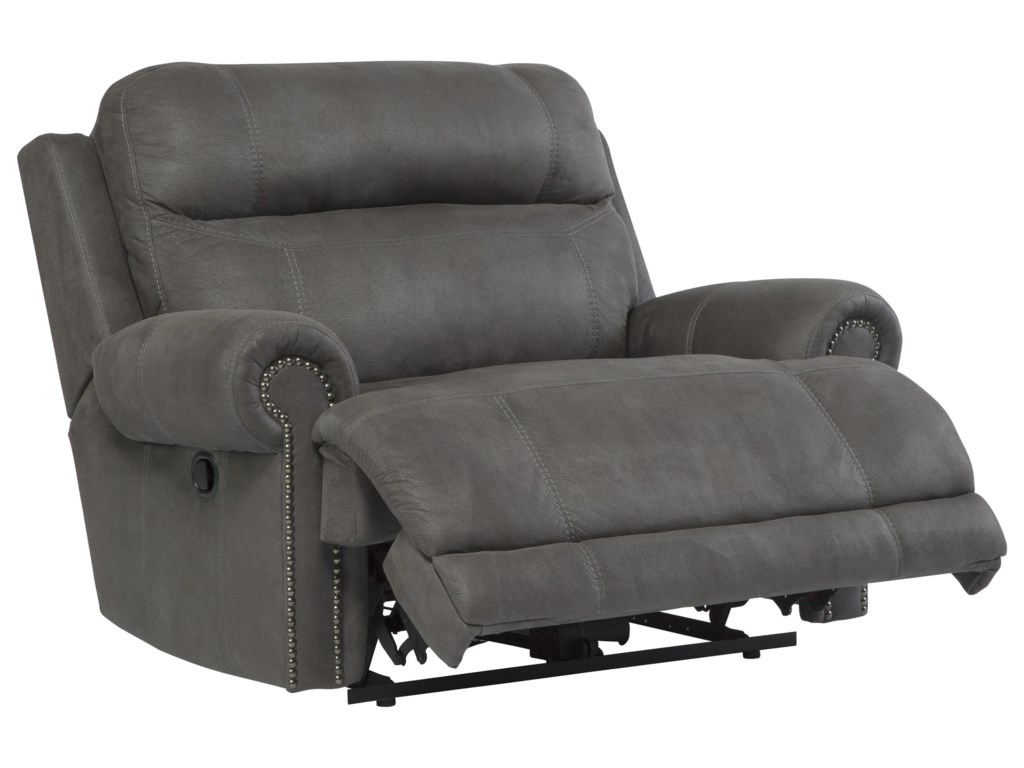 Signature Design by Ashley Austere - GrayReclining Sofa, Loveseat and Recliner Set
