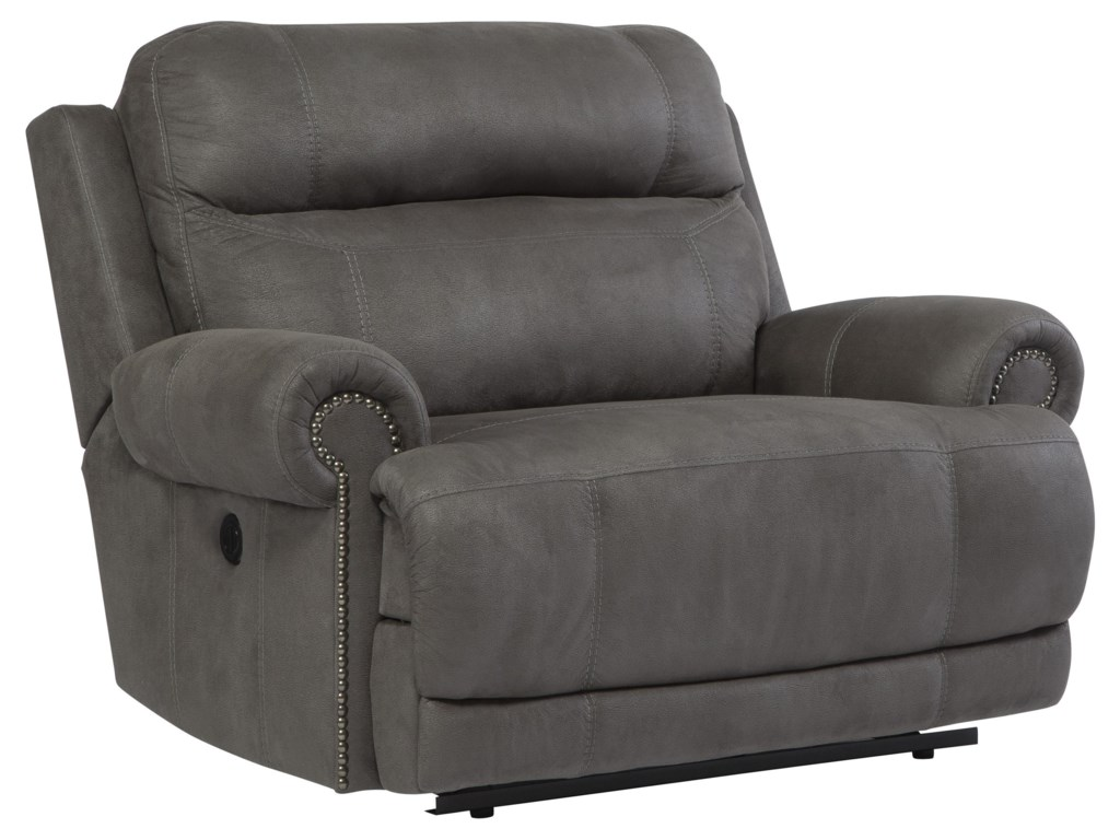 Signature Design Austere - GrayZero Wall Power Wide Recliner
