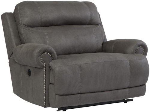 Signature Design by Ashley Austere - Gray Zero Wall Power Wide Recliner with Rolled Arms & Nailhead Trim