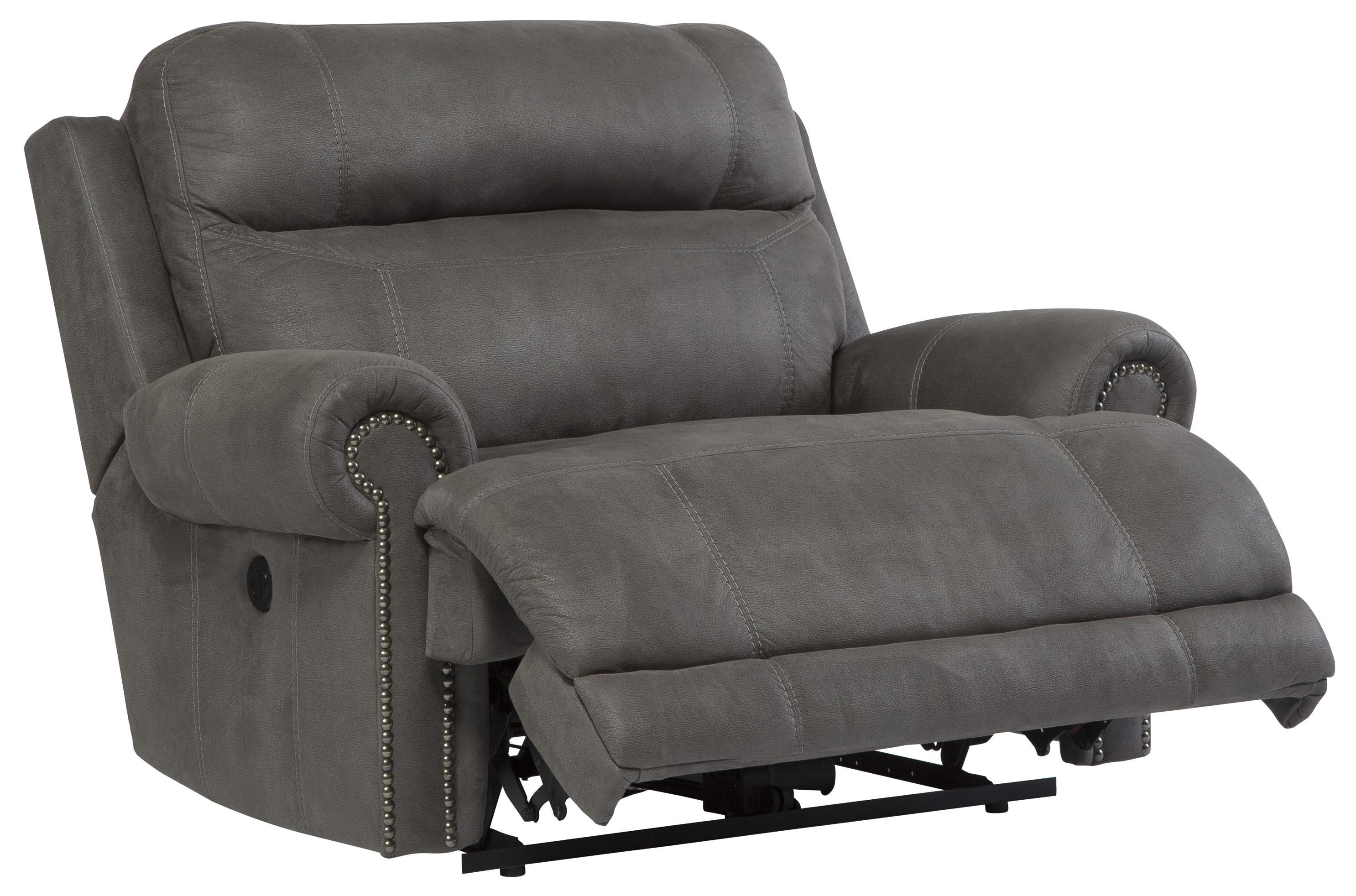 ... Signature Design By Ashley Austere   GrayZero Wall Power Wide Recliner  ...