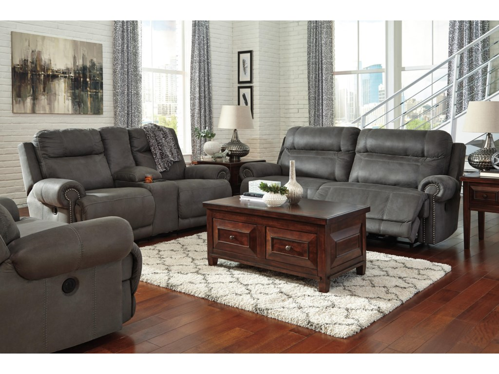 Ashley (Signature Design) Austere - GrayDouble Reclining Loveseat w/ Console