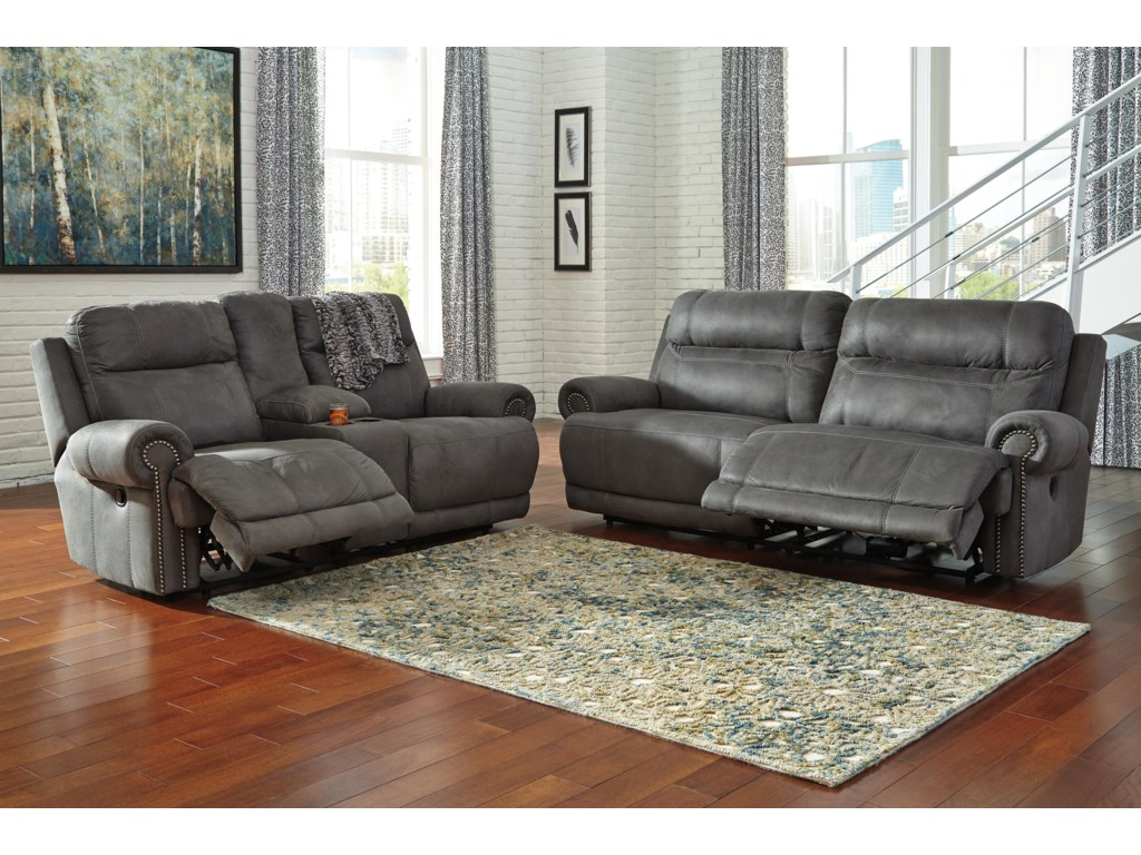 Signature Design by Ashley Austere - GrayDouble Reclining Loveseat w/ Console & Power