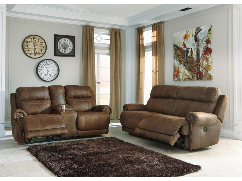 Signature Design by Ashley Austere - BrownPower Recliner Sofa, Loveseat and Recliner S