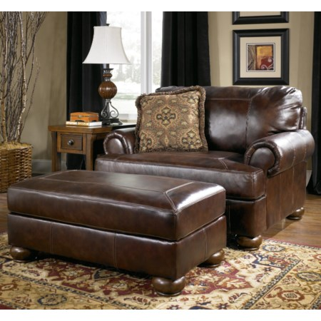 Upholstered Chair-and-a-Half and Ottoman