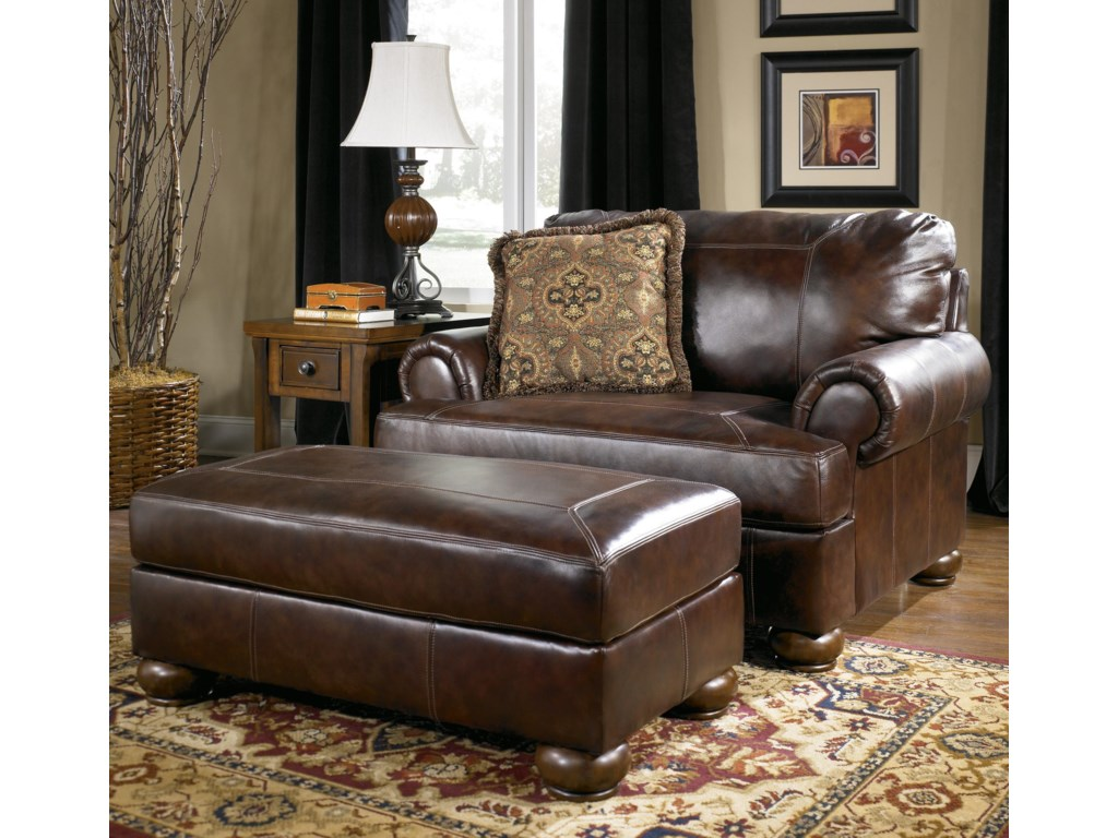 Signature Design by Ashley Axiom - WalnutUpholstered Chair-and-a-Half and Ottoman