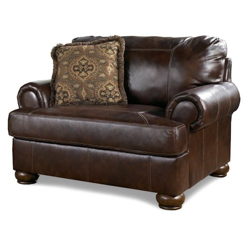 Signature Design by Ashley Haversham Traditional Upholstered Chair and a Half with Bun Wood Feet