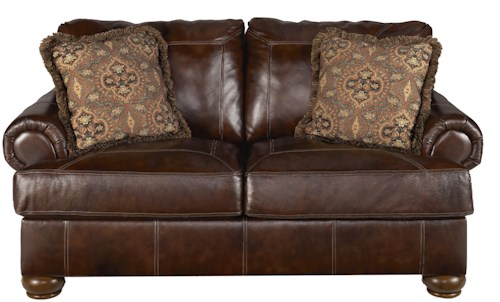 Signature Design by Ashley Axiom - Walnut Traditional Stationary Loveseat with Bun Wood Feet
