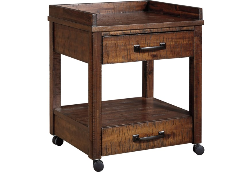 Ashley Signature Design Baldridge 1351547 Printer Stand With Outlets Usb Charging And Casters O Dunk O Bright Furniture Storage Credenzas