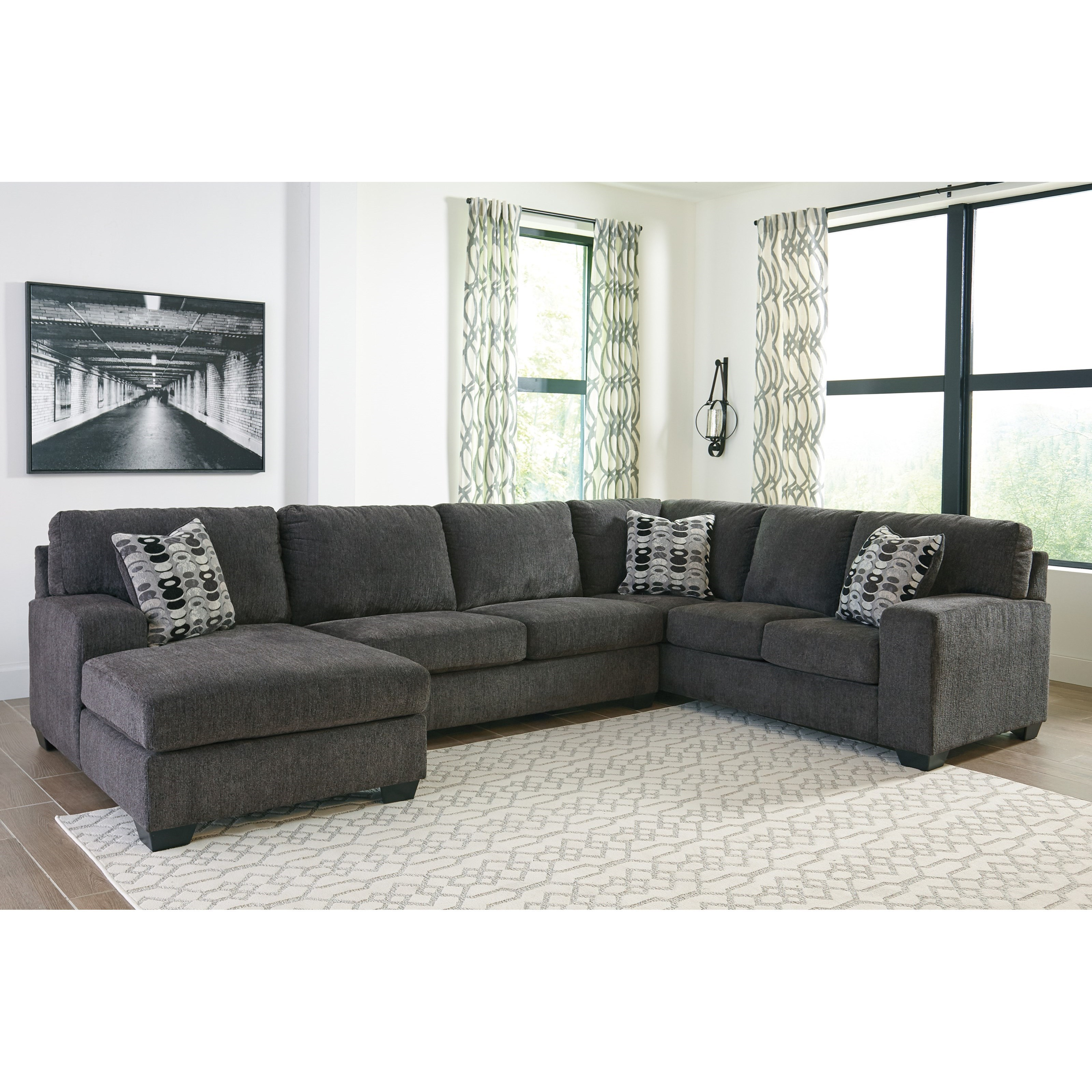 Signature Design By Ashley Ballinasloe Contemporary 3 Piece Sectional With Chaise Royal Furniture Sectional Sofas
