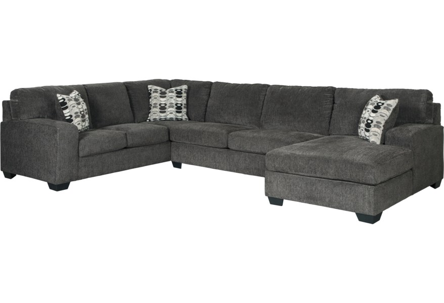 Ballinasloe Contemporary 3-Piece Sectional with Chaise by Signature Design  by Ashley at Reid\'s Furniture
