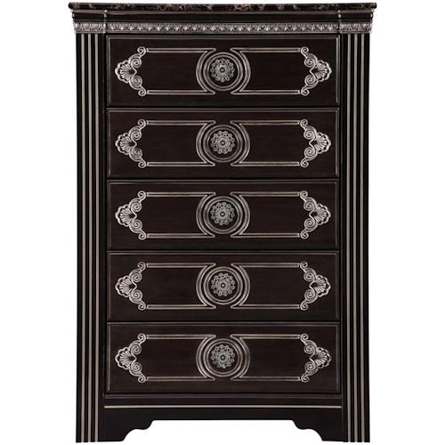 Signature Design by Ashley Banalski Traditional 5-Drawer Chest with Faux Marble Top