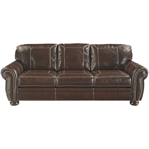 Signature Design by Ashley Banner Traditional Leather Match Sofa with Rolled Arms, Nailhead Trim, & Bun Feet