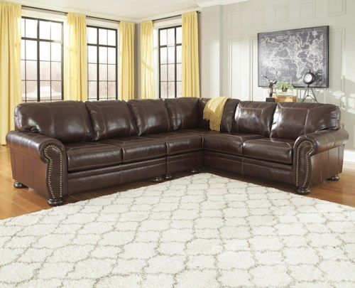 Signature Design by Ashley Banner 3-Piece Leather Match Sectional with Rolled Arms, Nailhead Trim, & Bun Feet