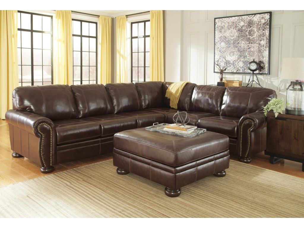 Francesco 3 Piece Leather Match Sectional With Rolled Arms Nailhead